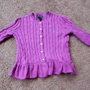 Polo Ralph Lauren girls cableknit peplum sweater